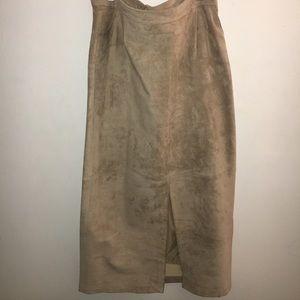 Midi Beige Suede Skirt W/ Button & Zipper.